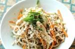 La salade froide de nouilles de soba au poulet